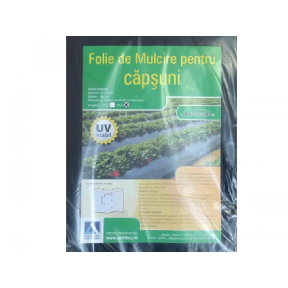 Folie mulcire pentru capsuni, perforata, 1.4m * 50m / 30 mic / negru